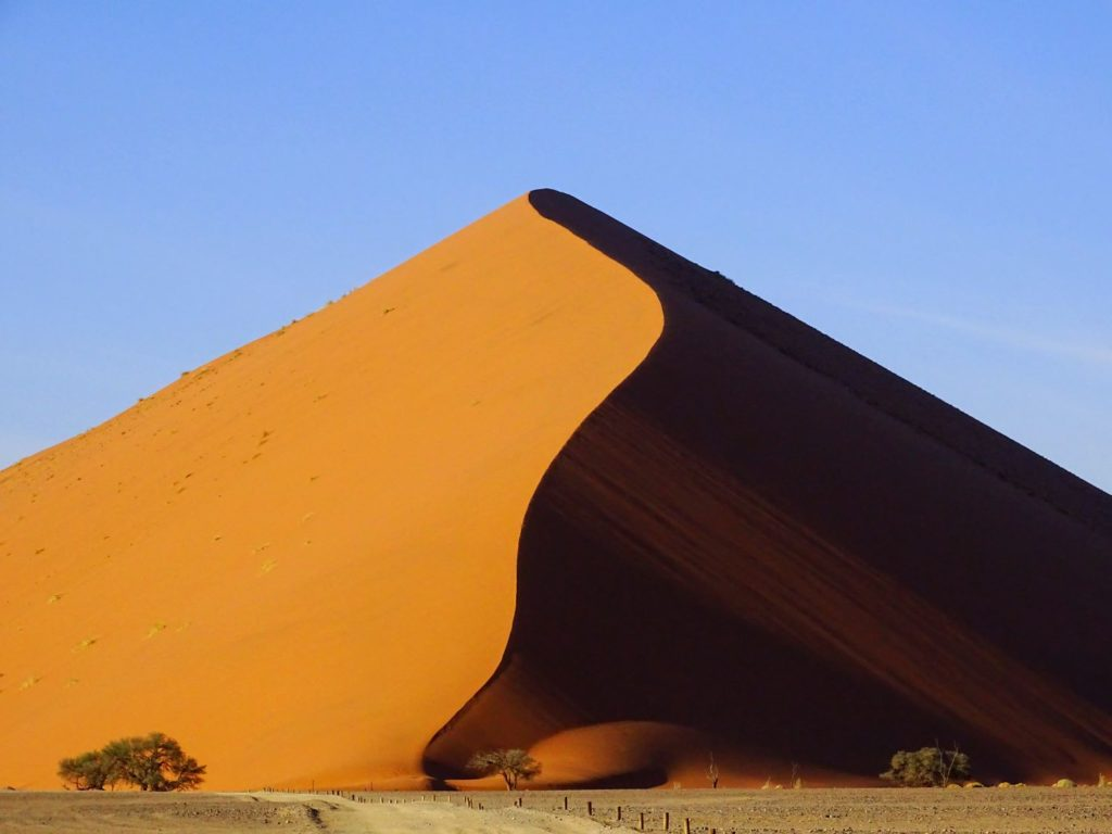 Geschwungener Dünenkamm in der Nähe des Sossusvlei in Namibia