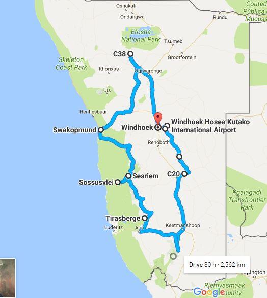 Namibia Familienreise Tourverlauf Karte