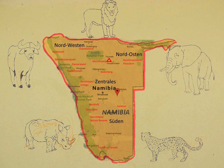 Namibia Karte gemalt von Schulkindern in Okakarara