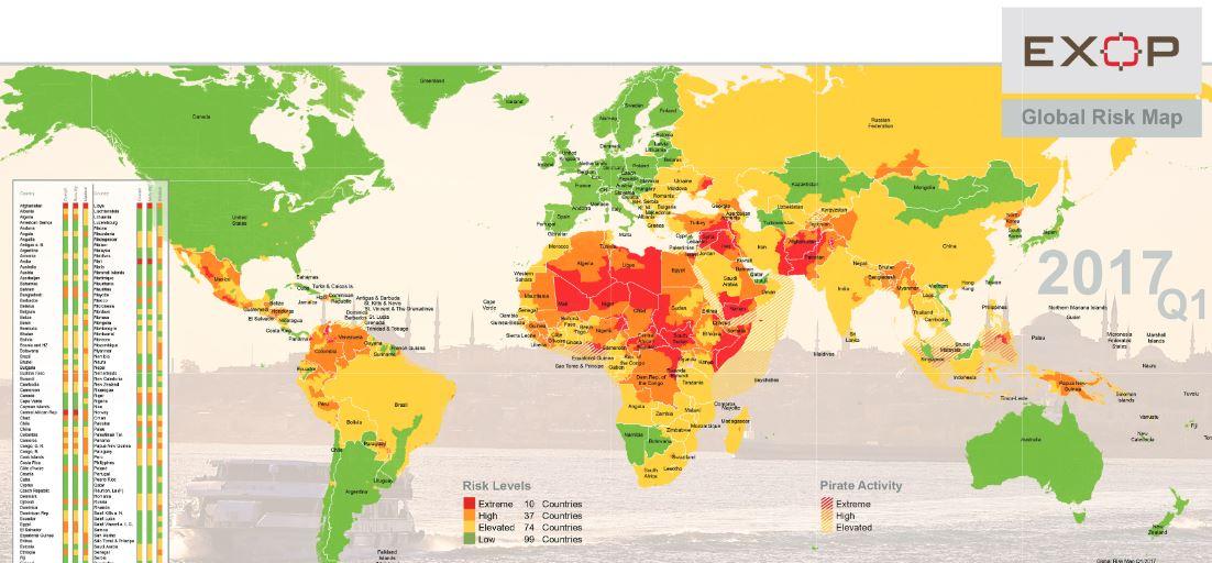 EXOP Karte Weltweite Sicherheitslage
