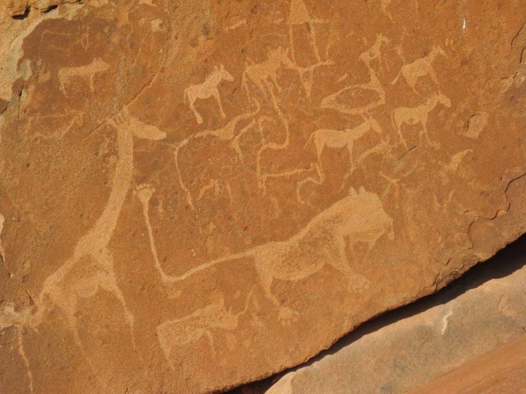 Felsgravur Löwenmann in Twyfelfontein, Damaraland, Namibia