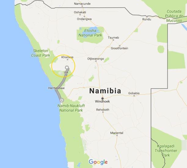 In Namibia freiwillig für Elefanten arbeiten - Karte
