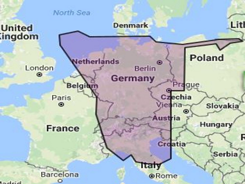 Die Grösse Namibia's im Vergleich zu Deutschland