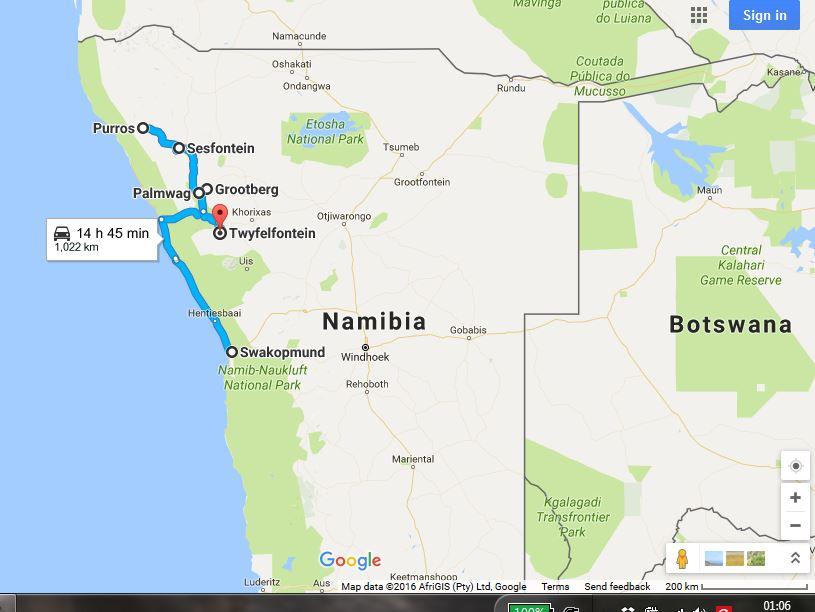 Namibia Nordwesten Tourverlauf Karte
