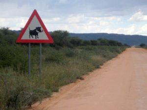 Warzenschwein Warnschild am Waterberg
