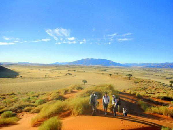 Wanderer inmitten der Dünen und Berge des NamibRand Nature Reserve